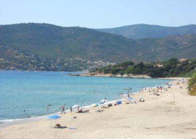 La plage de Sagone a coté du gite Sassone, en Corse.